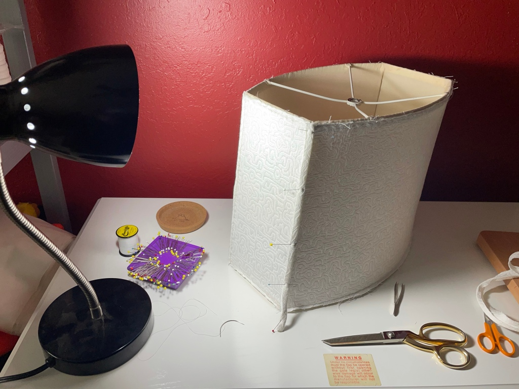 A lampshade awaiting a face lift.